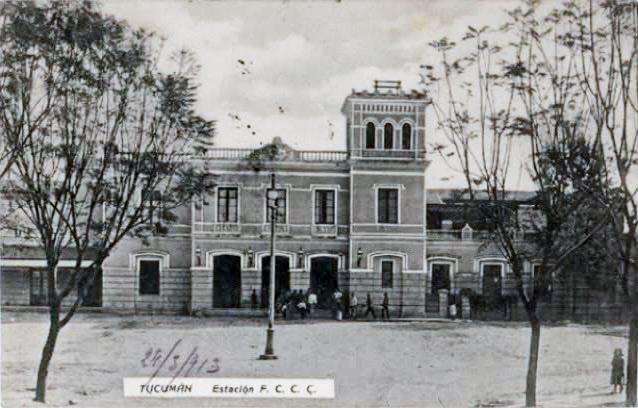 POSTAL DE LA ÉPOCA: Estación de trenes del Ferrocarril Central Córdoba en 1913