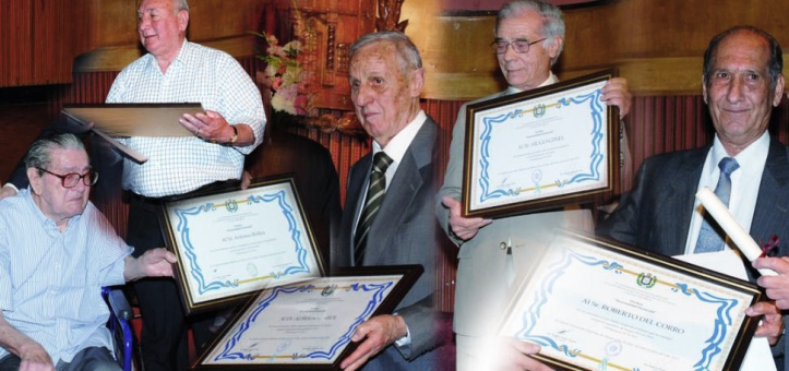 """DEJARON IMPRESA SU HUELLA. Antonio """"Pibe"""" Bollea, Luis Urueña, Alberto Carol, Hugo Ginel y Roberto Del Corro, con sus respectivas distinciones. Los cinco brillaron en el firmamento deportivo tucumano."""