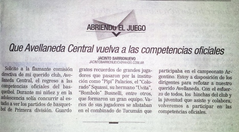 Carta del lector Jacinto Barrionuevo que se publicó en LA GACETA el lunes 20 de octubre de 2014
