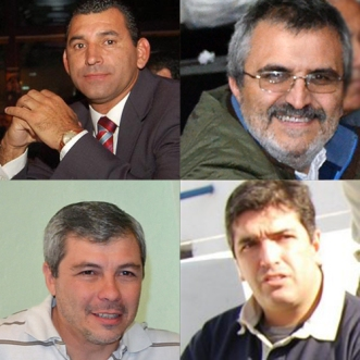 Arriba izq. Leito, Ávila. Abajo Siria y Villeco. Responsables del basquet decano.